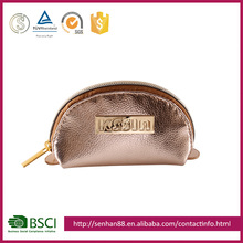 Fashion gold Support ODM OEM Lichee Pattern PVC metal LOGO pouch makeup customized hot sale lady bag beauty cosmetic case