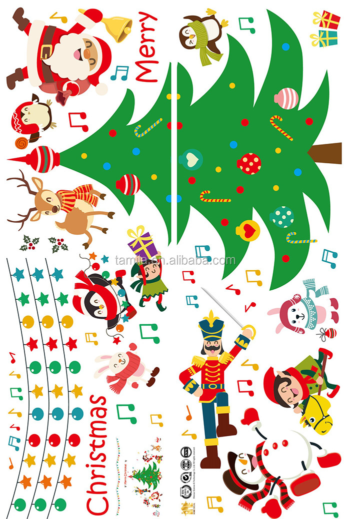Printing Removable Fashion High Quality Christmas Tree Wall Sticker