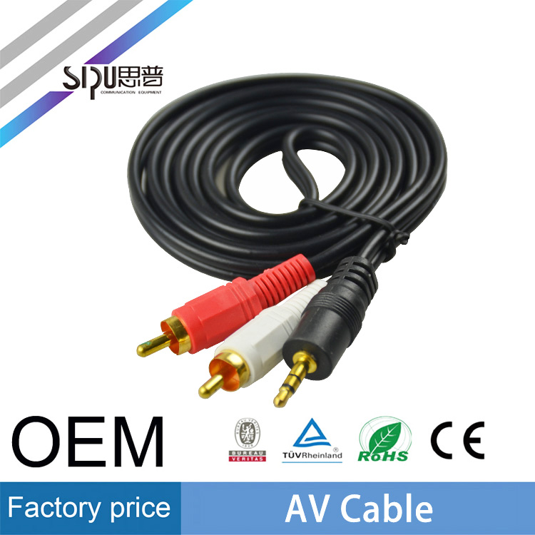 SIPU high quality 3.5mm to 2rca av cable best price dvd speaker cable wholesale rca pvc insulated cable