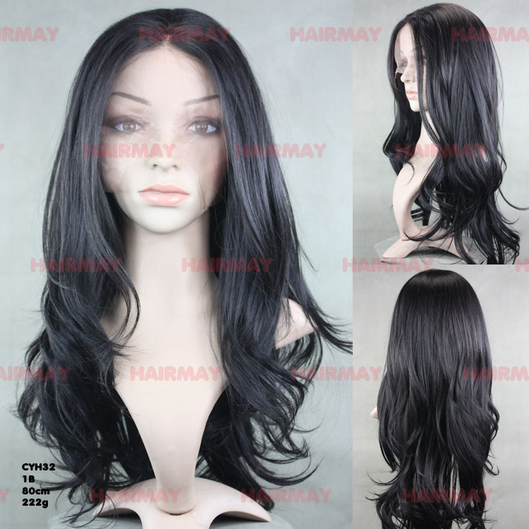 Black long wavy hair weave lace front synthetic wigs for female
