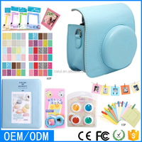 Instax Mini Film Camera Bag Suit, Frame, Photo Album, Stickers, filters, Selfie Mirror, blue