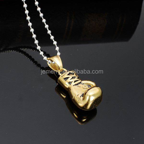 Sporty Stainless Steel Boxing Glove Necklace Boxing Jewelry Color 18K Gold Plated / Silver / Black Pendant For Men Boys Gift