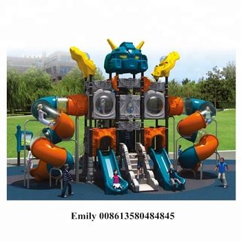 Big Robot style outdoor playground kids plastic slide for sale QX-036A