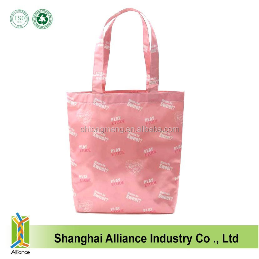 Full Dye Sublimation Printing 300D Polyester Long Handle Shopping Tote Bag With Bottom