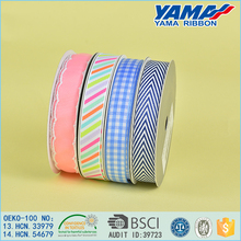 Factory direct wholesale polyester 6 colors ink printed grosgrain ribbon