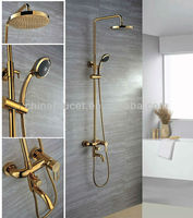 Wall Mount Golden Finish Brass Telephone Shower Faucet Sets QH9003G