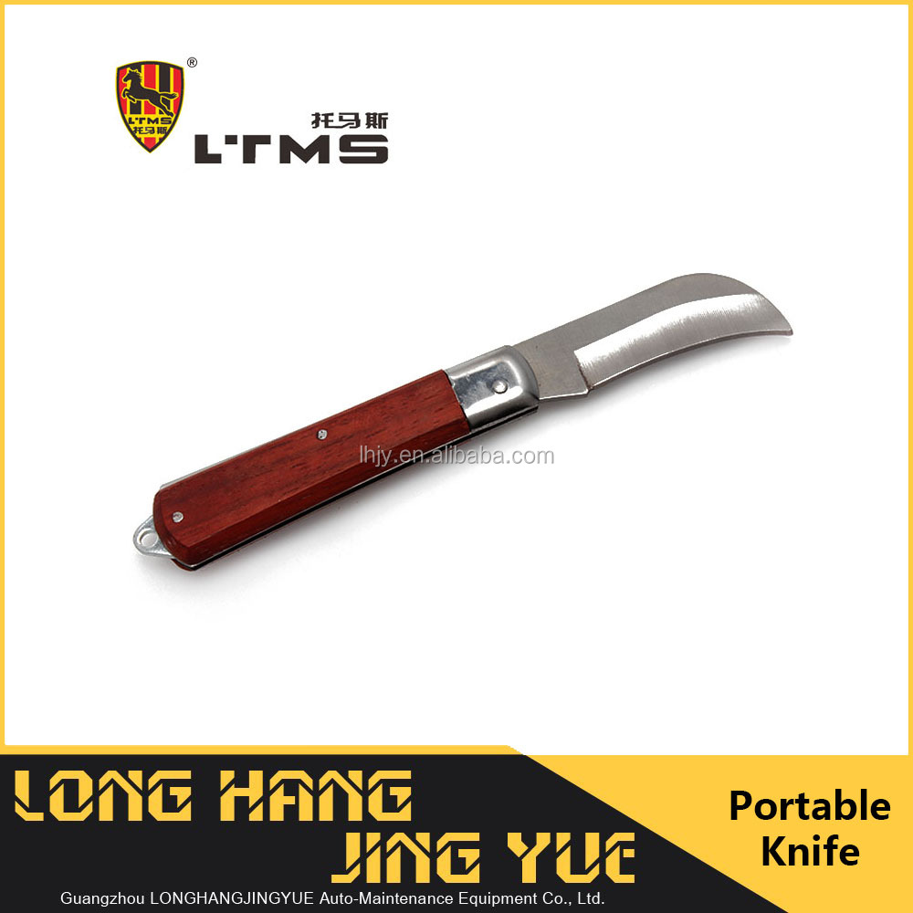 L'TMS Curved Electrician Cable Knife Folding Stripping Stainless Blade Wooden Handle Hand Tools Skid High Quality Cutter Camping