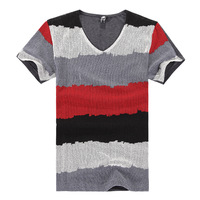 Free Shipping 2016 Lastest Fashion V-neck Short Sleeves Striped Tee Shirt Casual T-shirts Men M-3XL