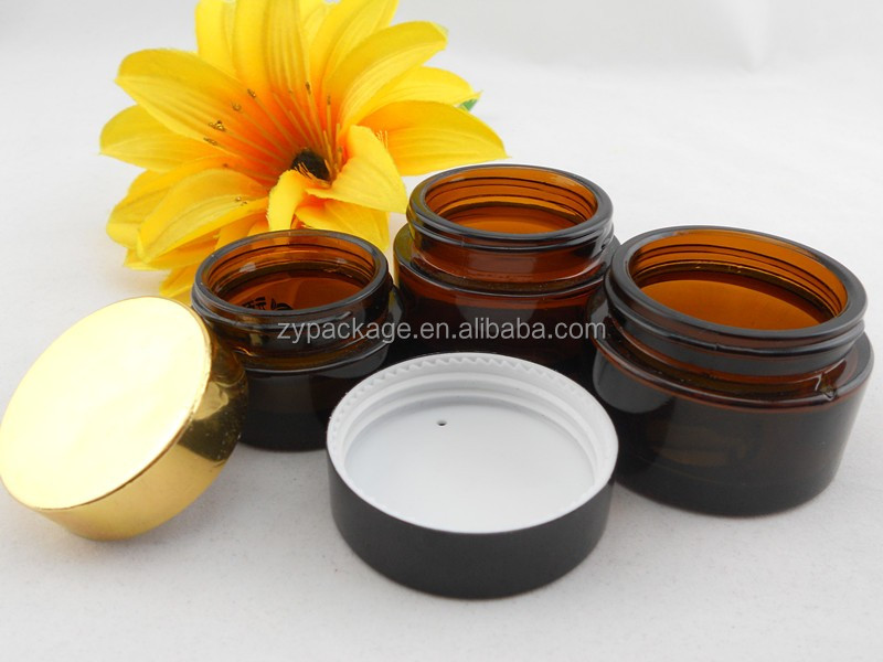 Factory sale CE/ISO 20ml glass amber cream bottle,cosmetic jars and lids