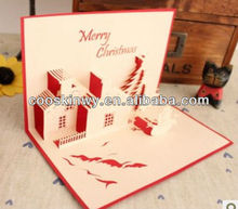 Fold christmas three-dimensional greeting card