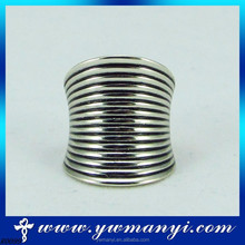 Many curving line micro inlay smooth long finger ring R0099