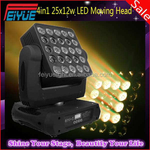 Good Quality Stage Festival Light Unlimited Pan/Tilt Movement 25PCS 12W DJ Disco Light RGBW Matrix LED Moving Head Pan