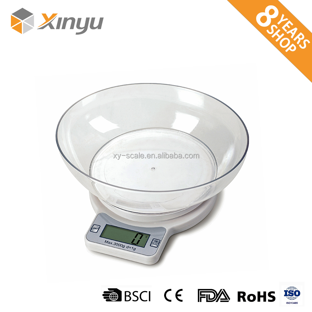 round bowl optional mechanical weighing glass kitchen weight scale