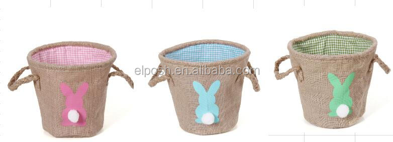 In Stock Storage Treat Decorative Cottage Chic Burlap Easter Basket
