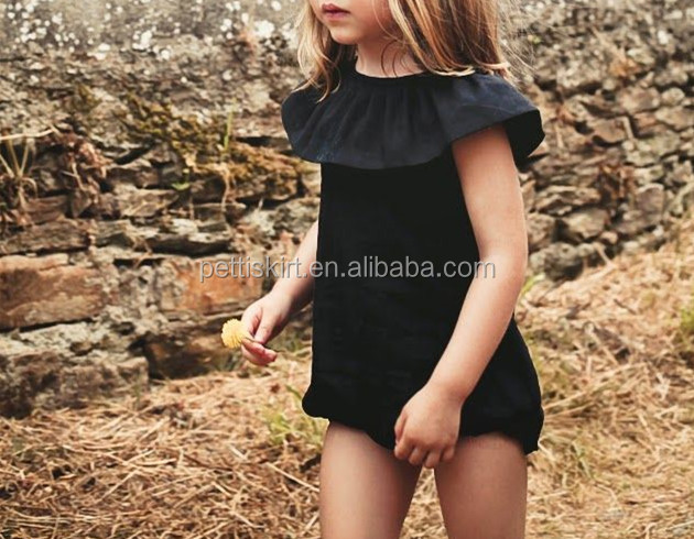 Boutique girl clothing solid black vintage romper for 0-24ms baby also plus size wholesale baby clothes