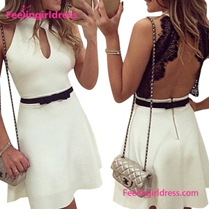New Arrival Hot Sexy Black Lace Backless White Short Dress Korean
