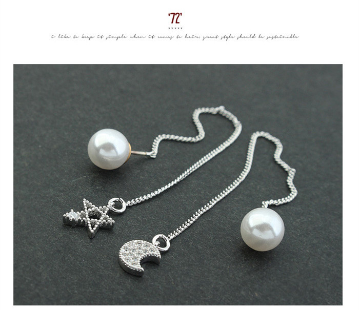 Moon and star desing fashionCopper gold plated jewelry pearl AAA Zircon drop Earrings