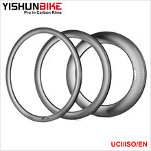2017 YISHUN 700c Road Bike 26mm Wide 55mm Clincher Tubeless Carbon Bicycle Rims WTD5C-TLR