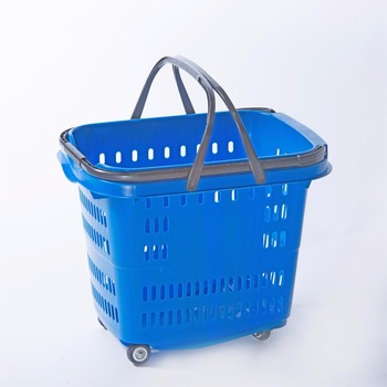 Colourful hand push cheap plastic basket for store