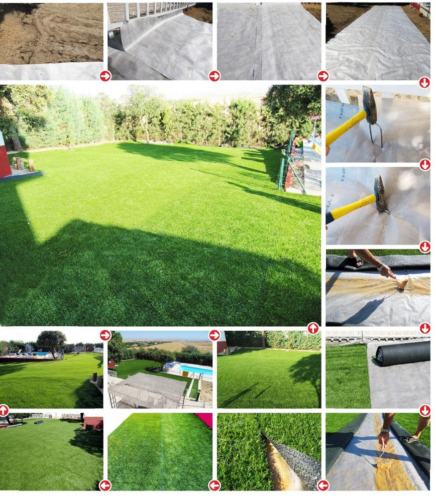 W shape 35 mm height all years green synthetic grass for garden landscaping