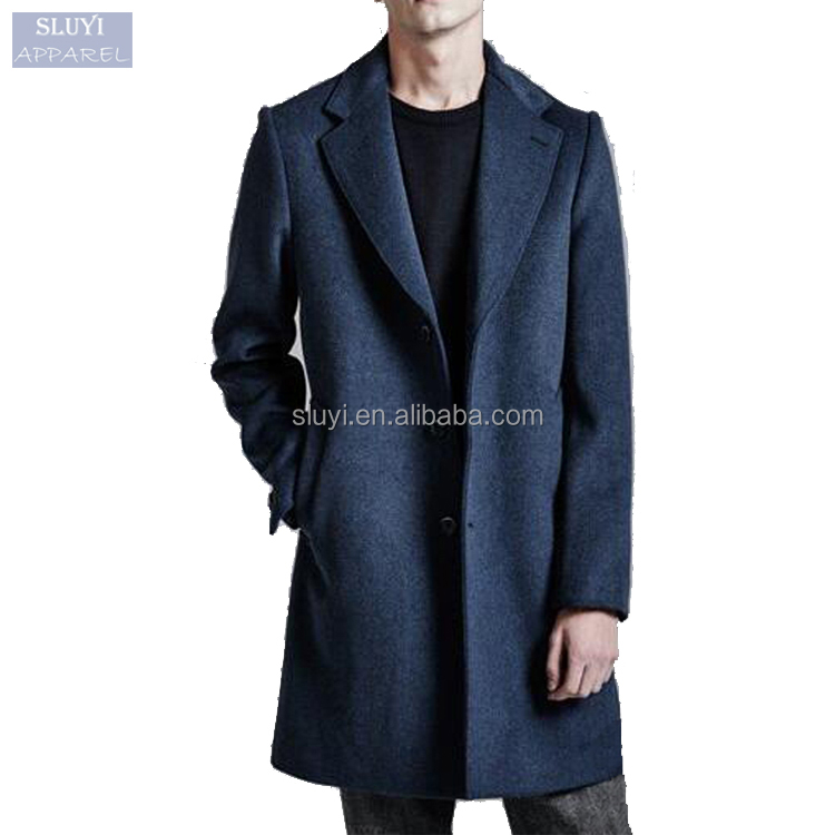 2017 latest fashion slim wool trench classic blue suit pant coat men luxury in winter button up lapel casual blazer for men-coat