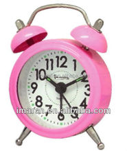 2017 New arrival Lovely Pink Twin Bell Alarm Clocks for Promotion Gifts