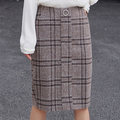 Fashion new designs plaid casual female students long skirt