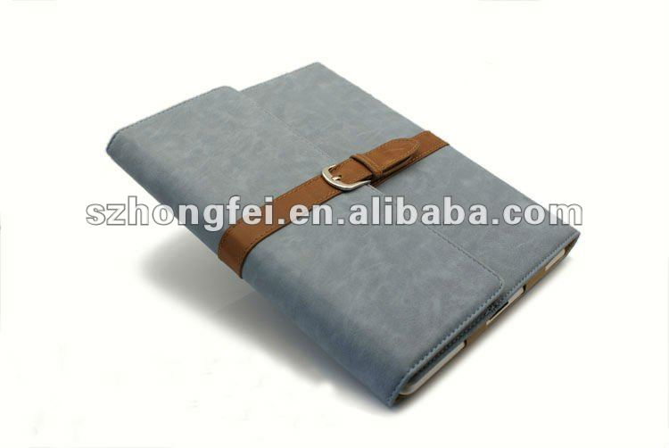 Factory direct sale cute design smart case for ipad2&3 with genuine leather buckle