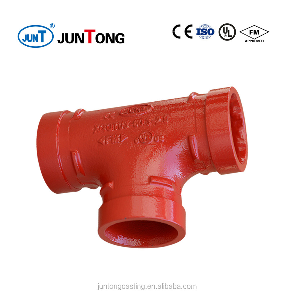 ductile iron equal tee for fire fighting with FM UL