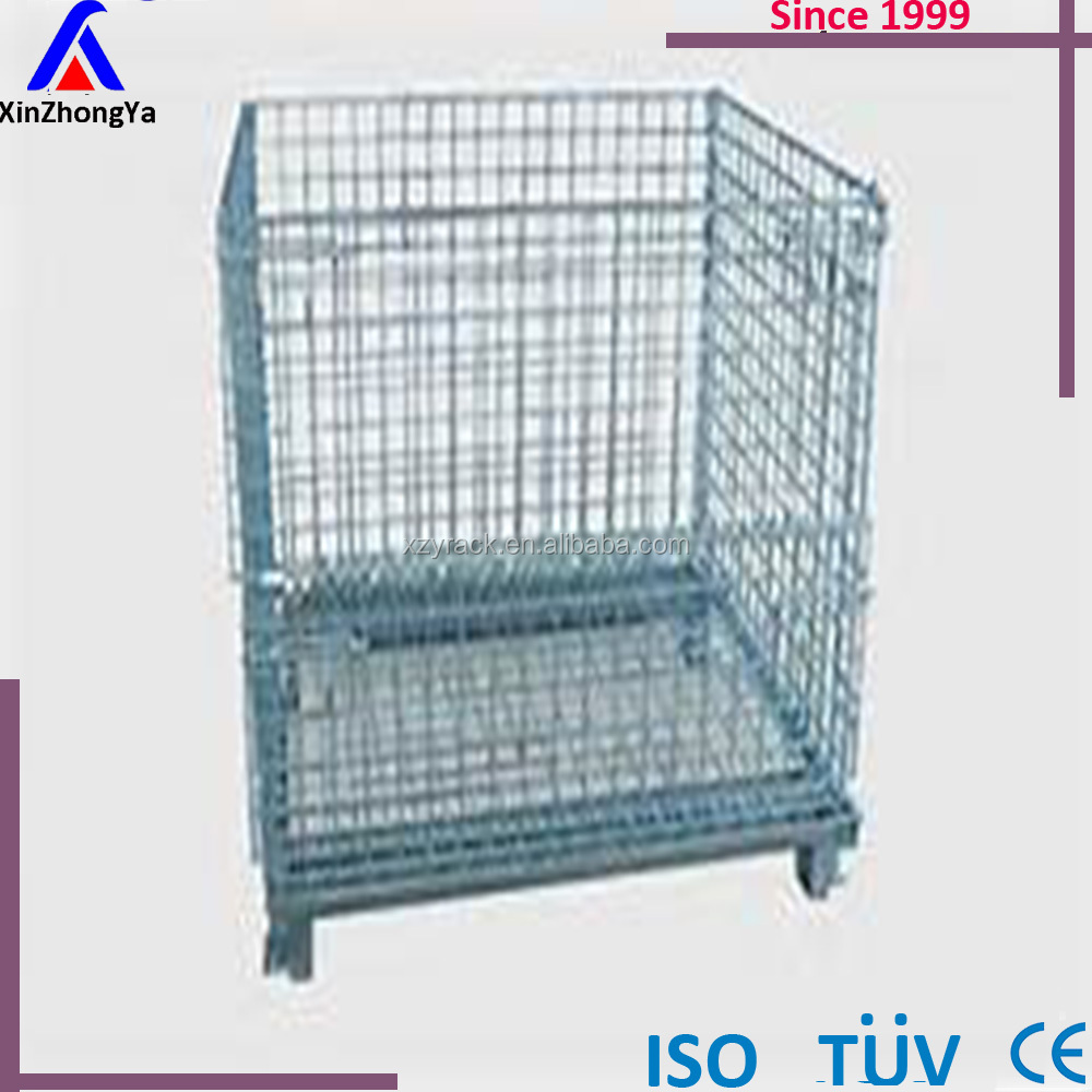China Supplier Heavy Duty Metal Steel Crates Galvanized Stacking Wire Mesh Container Bins