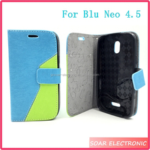 For Blu Neo 4.5 S330L Case, Fashion Design Dual Colors Leather Flip Case Cover For Blu Neo 4.5 S330L