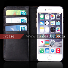 100% Guaranteed Quality Vintage High Grade Cowhide Real Leather Wallet Case For Iphone 6 Cover