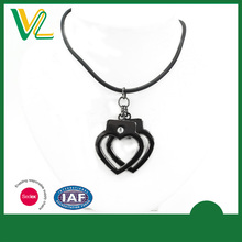 OEM Design New Die casting Black nickel Heart PU rope Jewelry sterling Necklaces for girl