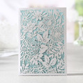 White Rose Floral Laser Die Cut Wedding Invitation Card