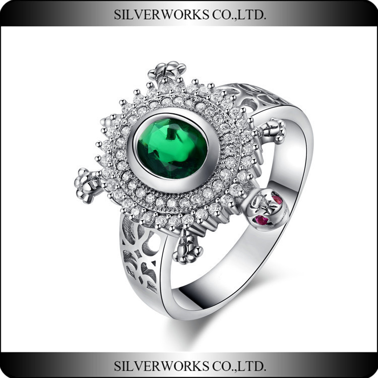 925 Sterling Silver Turtle Solitaire Ring green CZ jewelry silver rings