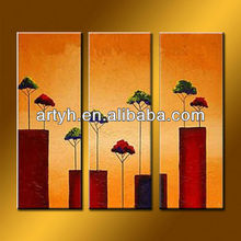 Handmade Modern Art Paintings 3 Panels On Canvas