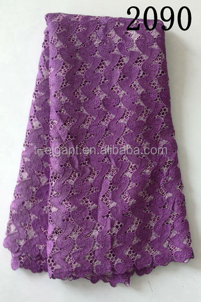 New arrival purple high quality african cord lace fabric with sequins