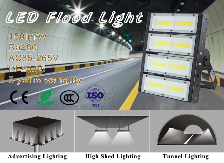 High power die cast aluminum COB ip66 outdoor led flood light 200w