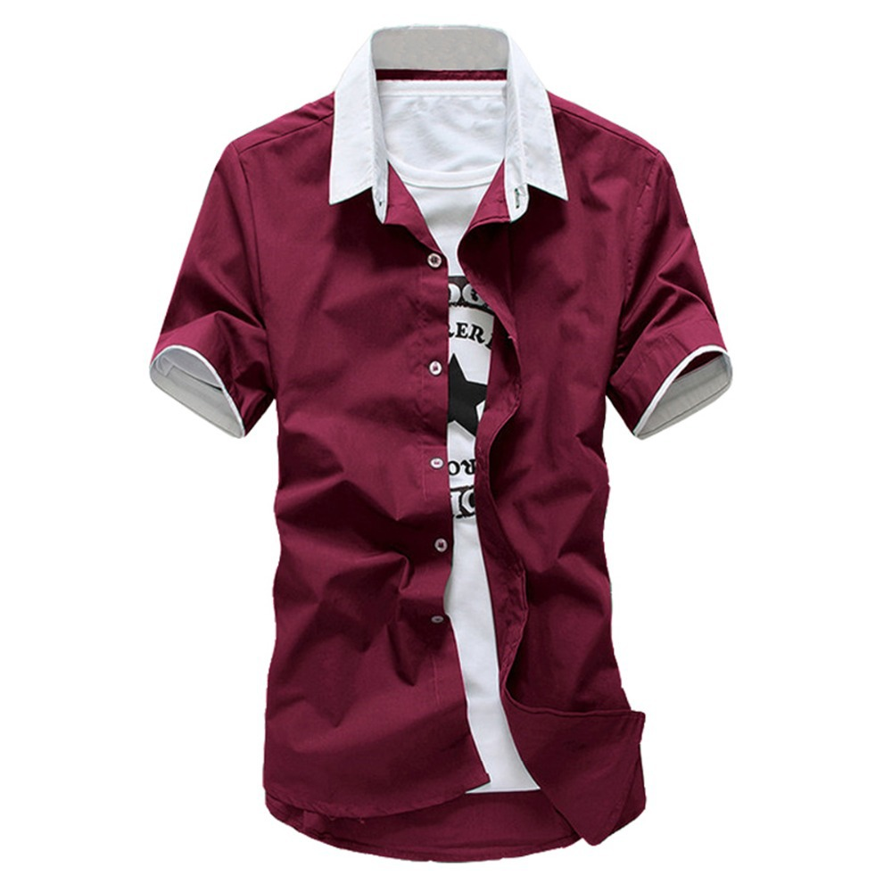 Buy New Mens Shirts Fashion 2015 Short Sleeve Shirts Slim Fit Solid