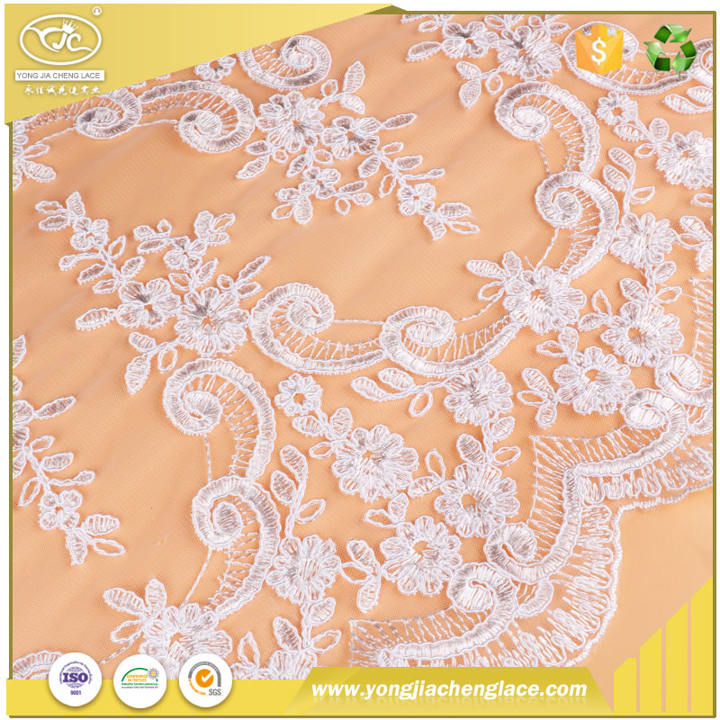YJC african swiss davids bridal double organza lace fabric