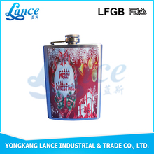 Hot sale in South America beer drinking beautiful austria silk screen hip flask