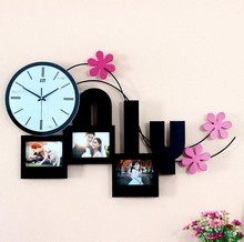 theme weddding decor low prices metal art wall clock and metal photo frame