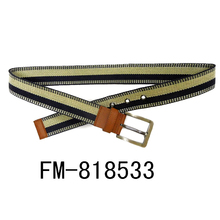 FM brand men canvas elastic fabric woven stretch multicolored braided belt