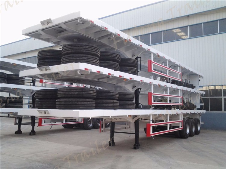 China Heavy duty 40 feet container semi flat bed trailer