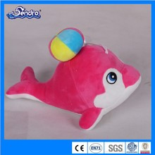 cheap claw machine plush leap dolphin toy for wholesale