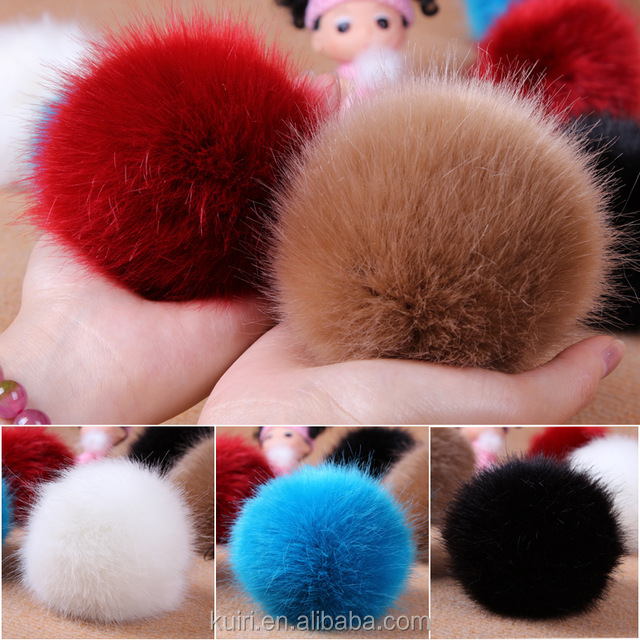 High similar real 10cm faux fur pom poms for garment dyed colour fox fur ball with key chain