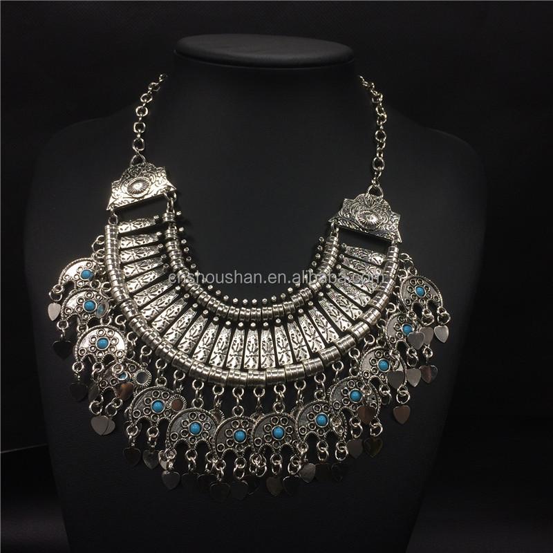 Vintage Silver Big Chunky Neckalce For Women Moon Shaped Tassel Jewelry