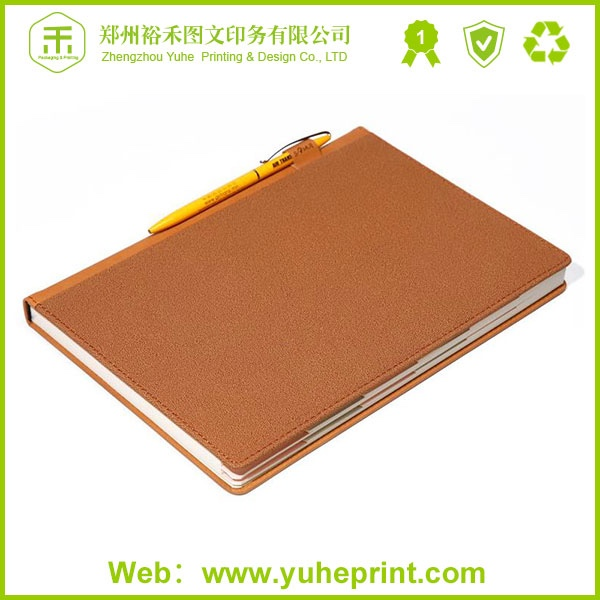 Hardcover a4 promotional ribbon maker custom cheap factory printing leather notebook with front pocket
