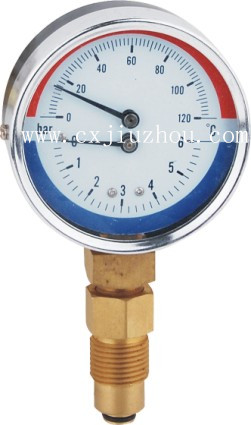 WYZ 80mm back mount temperature and pressure black steel case pressure thermome with 1/2BSP valve pressure gage type thermometer