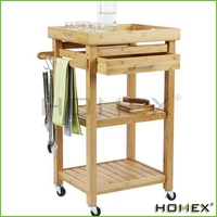 Bamboo kitchen cart /mobile kitchen island Homex_BSCI
